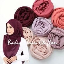 One piece high quality hot women muslim solid plain chiffon hijabs long georgette scarf shawls islamic headwear wraps scarves