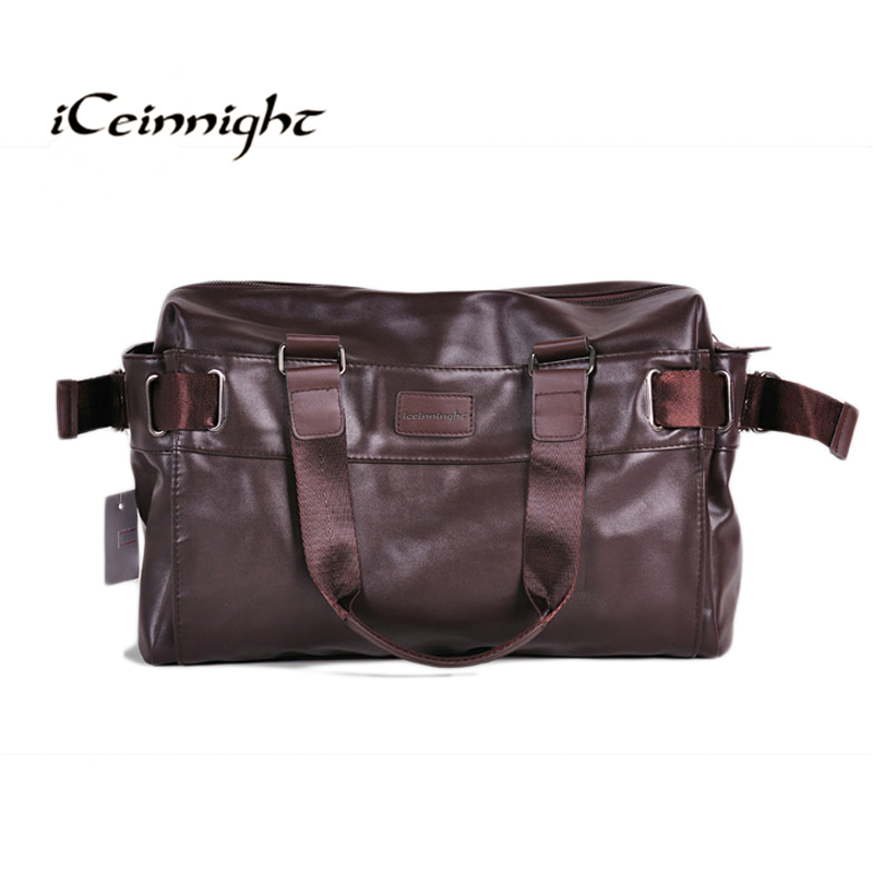 iCeinnight 2017 Men's Travel Bags PU Leather bag for man Brand Luxury Style Men's Messenger Bag Large Capacity Men Bags brown new playeagle waterpoof pu leather golf boston bag golf clothing bag large capacity travel bag with shoes pocket oem logo