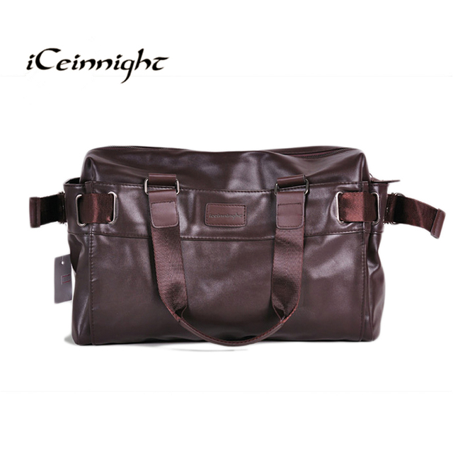 iCeinnight 2017 Men s Travel Bags PU Leather bag for man Brand Luxury Style  Men s Messenger Bag Large Capacity Men Bags brown 77f6838103