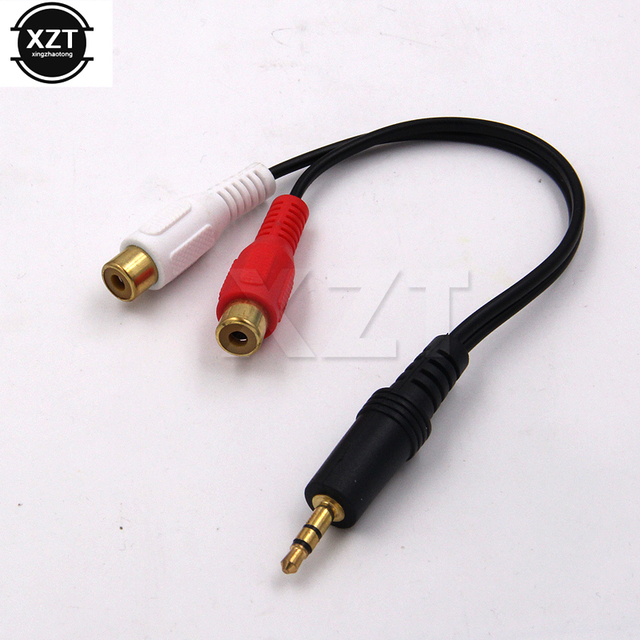 1pcs Gold Plated Rca Black 3.5mm Male to 2RCA Female Audio Aux Cable ...
