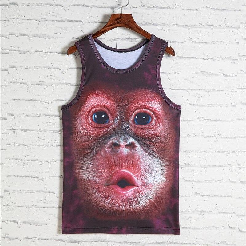 2018 Fashion Animal print 3d Weste Männer Gorilla Affe Tiger katze Hund Wolf Hamster Leopard Lustige Tanktops Männliche Sleeveless T-shirts