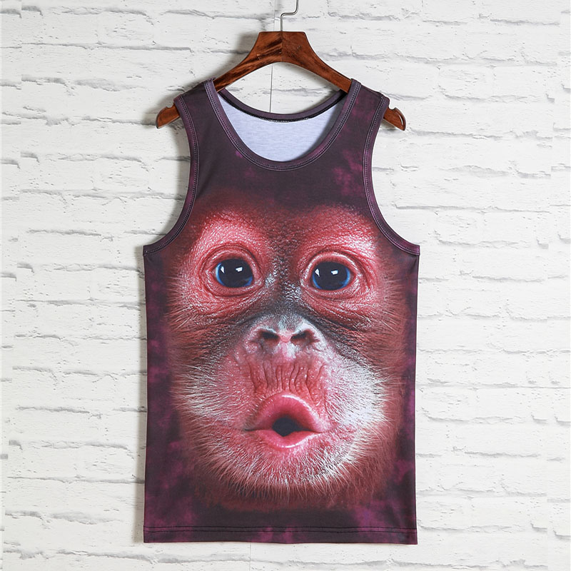 2019 Fashion Animal print 3d Vest Men Gorilla Monkey Tiger Cat Dog Wolf Hamster Leopard Funny Tank Tops Male Sleeveless Tops