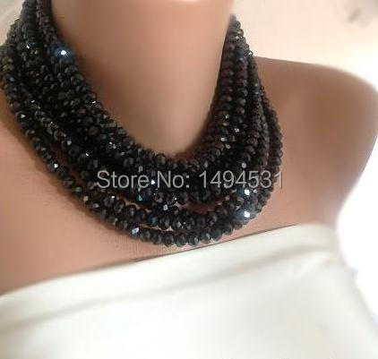 Wholesale Crystal Jewelry Red Carpet Bold Chunky Statement Black Crystal Bib Necklace - Handmade Jewelry - XZN157
