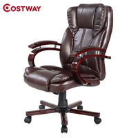 COSTWAY PU Leather Ergonomic Office Chair Armchair Executive Chair Boss Lift Chair Swivel Chair Office Furniture