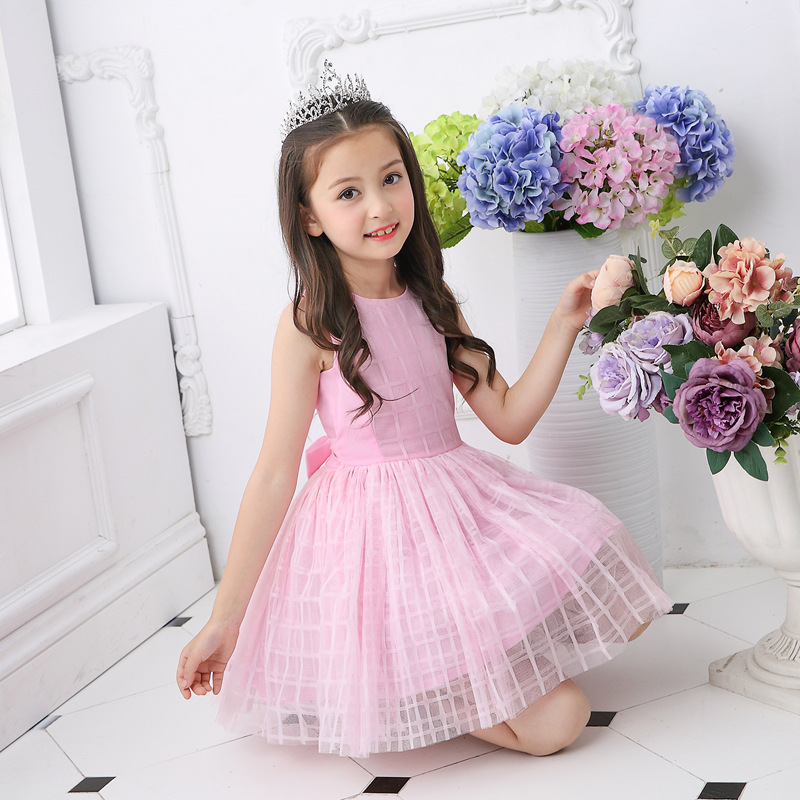 2018 Summer New Girls Cute White Pink Sleeveless Plaid Bow Preppy Style Ball Gown Knee-Length Party/Wedding/Performer/Host Dress