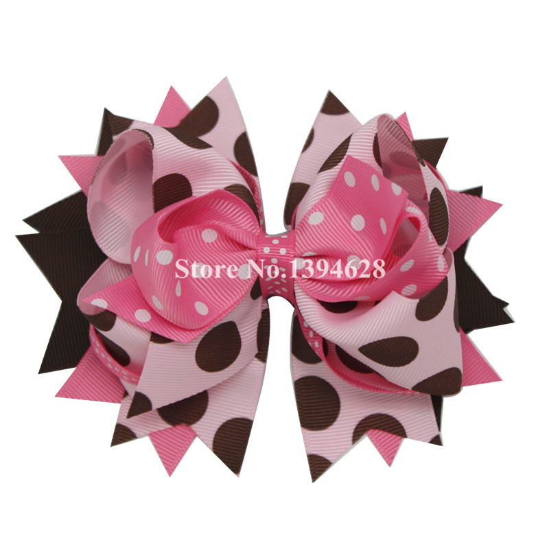 USD1.88 / PC 5.5Inches Pink, Brown Polka Dot Girl Stacked Bows with 6cm Hair Clip, Polyester Bows for Girls Մազերի պարագաներ
