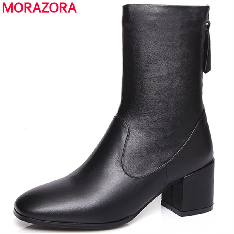 MORAZORA High quality pu + genuine leather boots square high heels winter ankle boots women fashion soft leather black shoes