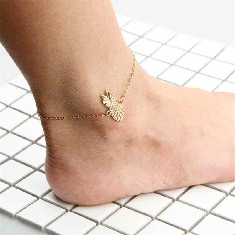 Winterxue ออกแบบสับปะรดผลไม้สร้อยข้อเท้าสร้อยข้อมือผู้หญิง Boho สไตล์สีขาสร้อยข้อมือเครื่องประดับ