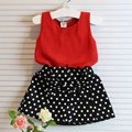 New Summer Kids Baby Girl Clothing Set Sleeveless Chiffon Tops+Polka Dot Bowknot Mini Skirts L07