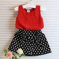 Nova verão crianças bebê menina vestuário Set mangas Chiffon Tops + Polka Dot Bowknot Mini saias L07