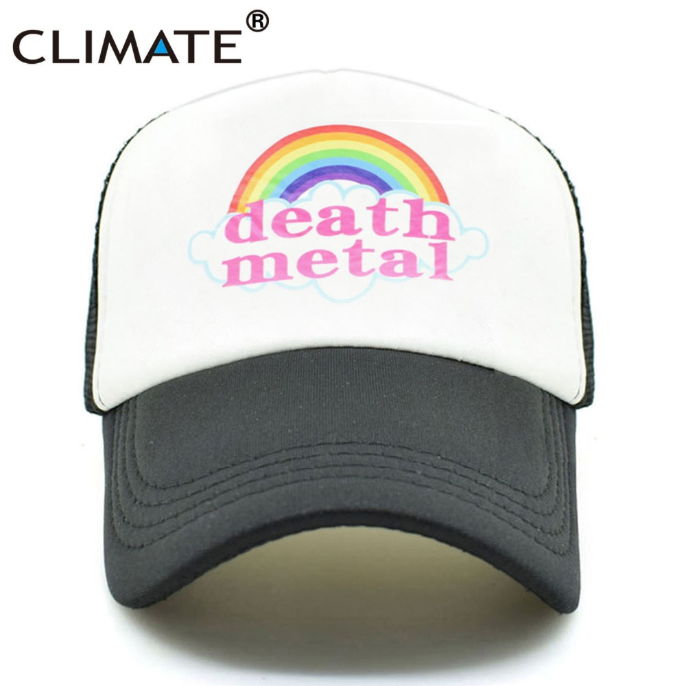 CLIMATE Death Metal Rock Trucker   Cap   Rock Summer   Cap   Metal Rock Fans Cool Mesh   Baseball     Cap   Men Rainbow Trucker   Caps   Dad Hat Men