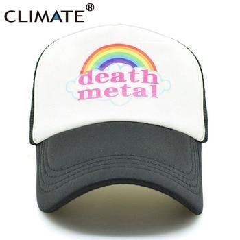 El clima de la muerte de Metal Rock gorra de camionero Rock verano tapa de Metal Fans genial de malla gorra de béisbol de los hombres arco iris de camionero papá sombrero de los hombres