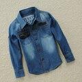Del otoño del resorte niños ropa de manga larga camisa de mezclilla para niños casual solid camisa de algodón niños tops blusa para DQ207 2-13Y