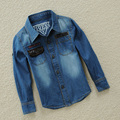 spring autumn boys clothing long sleeve denim shirt for boys casual solid cotton shirt kids tops blouse for 2-13Y DQ207