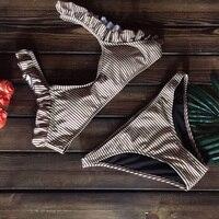 Colorful Striped Bikinis Set 2017 New Lace Straps Swimsuit Women Sexy Push Up Swimwear Low Cut
