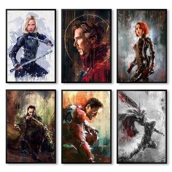 цена Wall Art Poster Print Canvas Painting Wall Pictures For Home Decor Marvel Avengers Movie Superhero Deadpool Iron Spider Man Loki онлайн в 2017 году