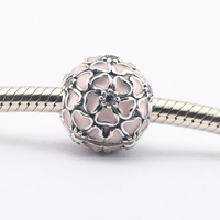 Fits Pandora Charms Bracelet 925 Silver Clip Beads Charm Cherry Blossom With Soft Pink Enamel Clear
