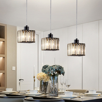 DX Modern Led Pendant Lights Crystal Lighting Fixture Dining Room Living Room Iron Lamp Creative Cube Luminaire Black Luster
