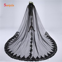 Vintage Black Tulle Lace Edge Bridal Veils Long Cathdral Veil with Comb Wedding Accessories Elegant velo de novias V49