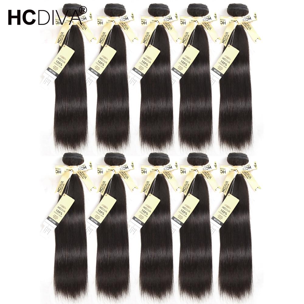 Бразильские прямые пучки волос плетение 100% человеческих волос пучков 8--40 inch натуральный черный Цвет 10 шт./лот человеческих волос