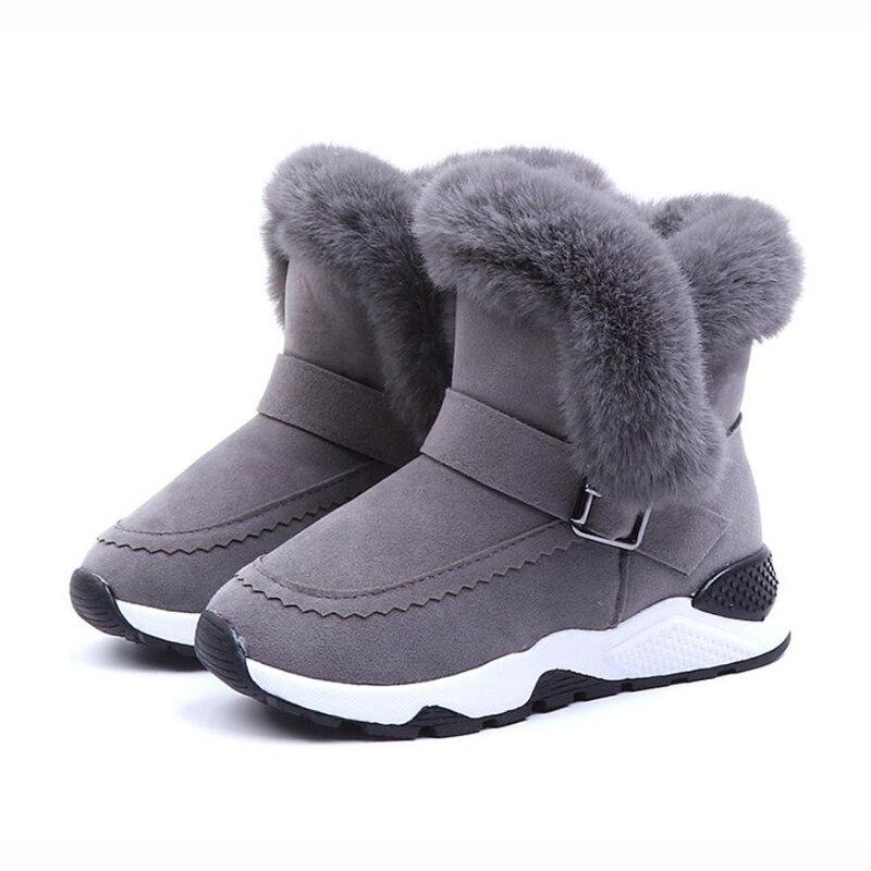 Children Snow Boots Winter Warm Cute Plush Side Girls Boots Plus Velvet Large Ankle Boots Shoes For Girls ботинки для девочки