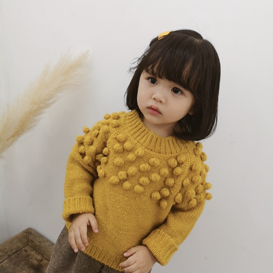 Autumn Winter Toddler Girl Sweater Three-dimensional Hairball Knit Pullover 2 3 4 5 6 Years Child Clothes Fashion Kids Sweaters