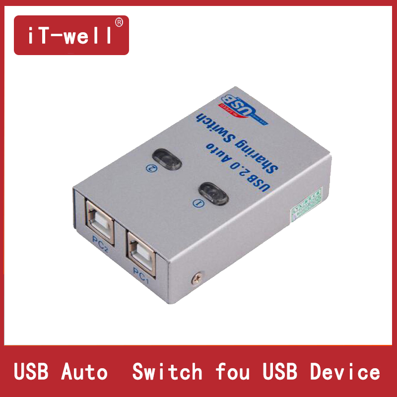 iT-well USB HUB USB Auto Sharing Switch For 2 Computer sharing Printer Supports 2 computers to share 1 USB device цена и фото