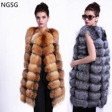 NGSG Real fox fur vest waistcoat Stripe 90cm women's sleeveless female winter genuine red fox fur coat ER40207