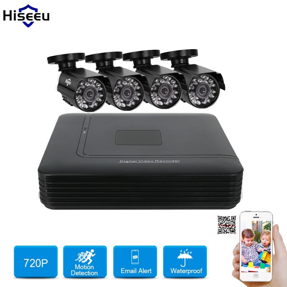 Hiseeu 4CH sistema cctv 720 P Telecamera AHD 1 TB HDD Opzione Mini DVR Kit CCTV mobile view Sistema di Sicurezza 1200TVL IR Della Pallottola Esterna