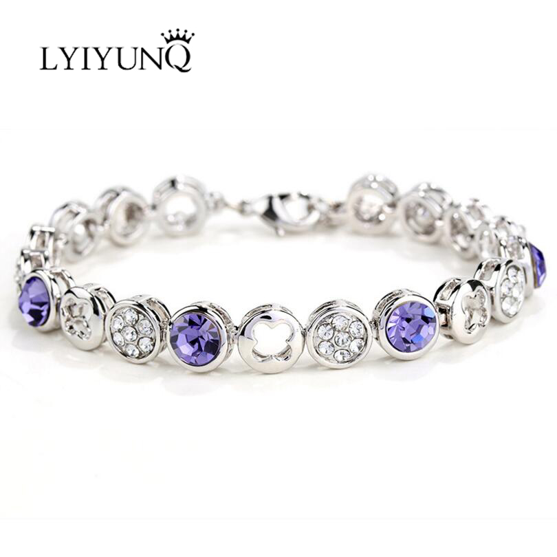 LYIYUNQ Classic Round Flower Bracelets For Women Fashion Crystal Bracelet Trendy Rhinestone Girls White Wedding Jewelry