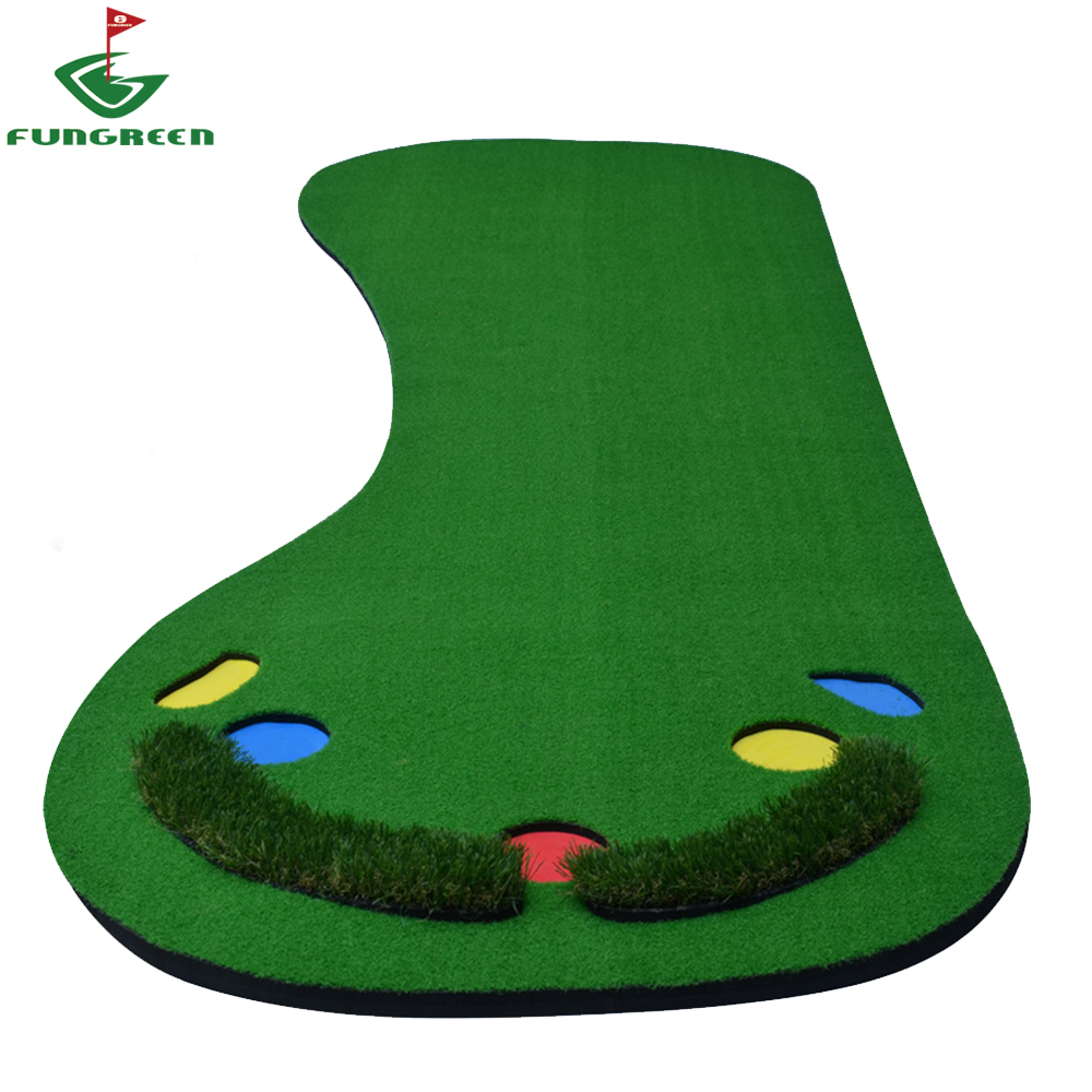 90x300cm Indoor & Outdoor Backyard Mini Golf Putting Green Protable Residential Golf Training Mat with 5 Ball Hole for Practice golf putting mat mini golf putting trainer with automatic ball return indoor artificial grass carpet