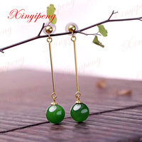 Xin yi peng 18 k yellow gold inlaid natural hetian jade jasper drop earrings, women earrings, simple and easy, anniversary gift
