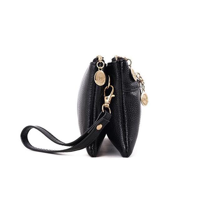 Women's Multicolor Leather Zipper Clutch