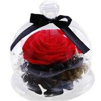 Gerçek dokunmatik Güller çiçekler Sonsuz Içinde Korunan Güller Çiçek Cam Romantik Doğum Günü sevgililer Günü Hediyesi Gelin Buketi Ev 2018