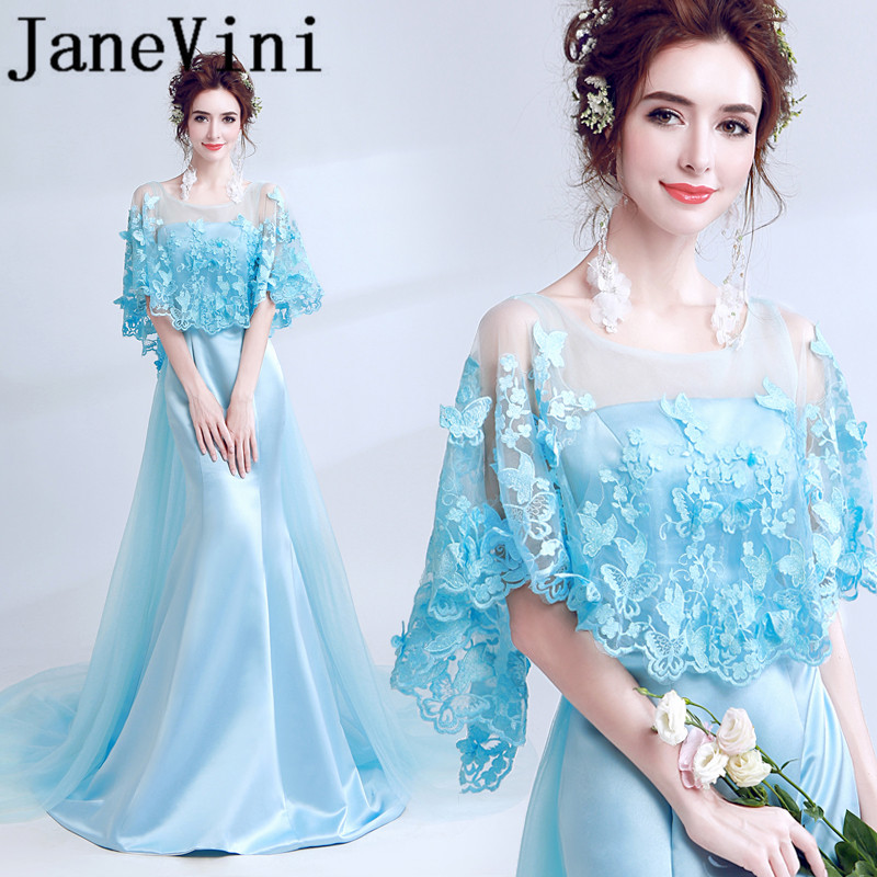 JaneVini 2018 Sexy Satin Mermaid Long   Bridesmaid     Dresses   Sheer Scoop Neck Backless Lace Applique Sweep Train Women Pageant Gowns