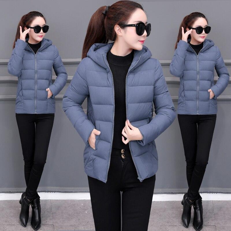 2019 nova mulher para baixo algodão inverno casaco com capuz quente solto curto outerwear casual feminino pão roupas de algodão casacos básicos