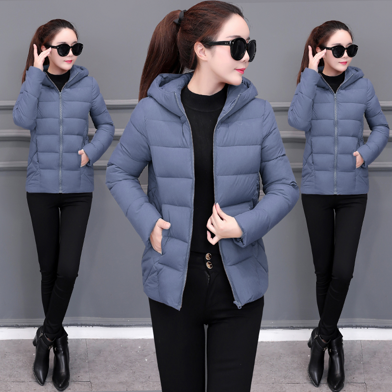 2019 Women New Down Cotton Winter Hooded Jacket Coat Warm Loose Short Outerwear Casual Female Bread Clothing Cotton Basic Coats