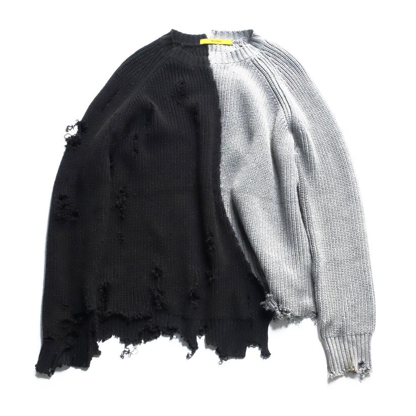 Autumn winter men ripped hole patchwork oversized knitted sweater irregular design hip hop punk knitwear women vintage pullover(China)