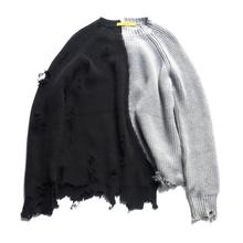 Mùa thu đông nam rách lỗ Miếng dán cường lực quá khổ Áo len dệt kim không đều thiết kế hip hop Punk đan nữ Vintage chui đầu