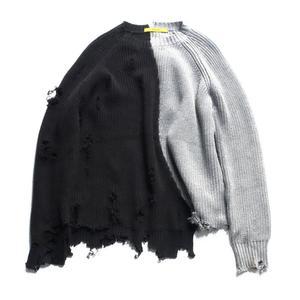 Image 1 - Mùa thu đông nam rách lỗ Miếng dán cường lực quá khổ Áo len dệt kim không đều thiết kế hip hop Punk đan nữ Vintage chui đầu