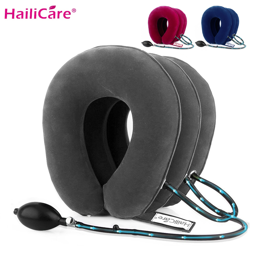 US Stock3 Layer Inflatable Air Cervical Neck Traction Device Soft Neck Collar For Pain Relief Neck Stretcher Pain Releave