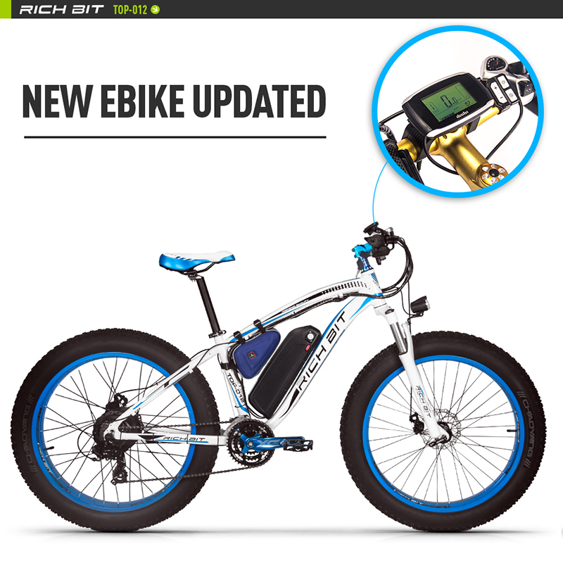 RichBit RT-012 Plus Ebike With Bicycle LED Computer Powerful Snow Electric Bike 21 Speed 17AH 48V 1000W Electric Fat Tire Bike