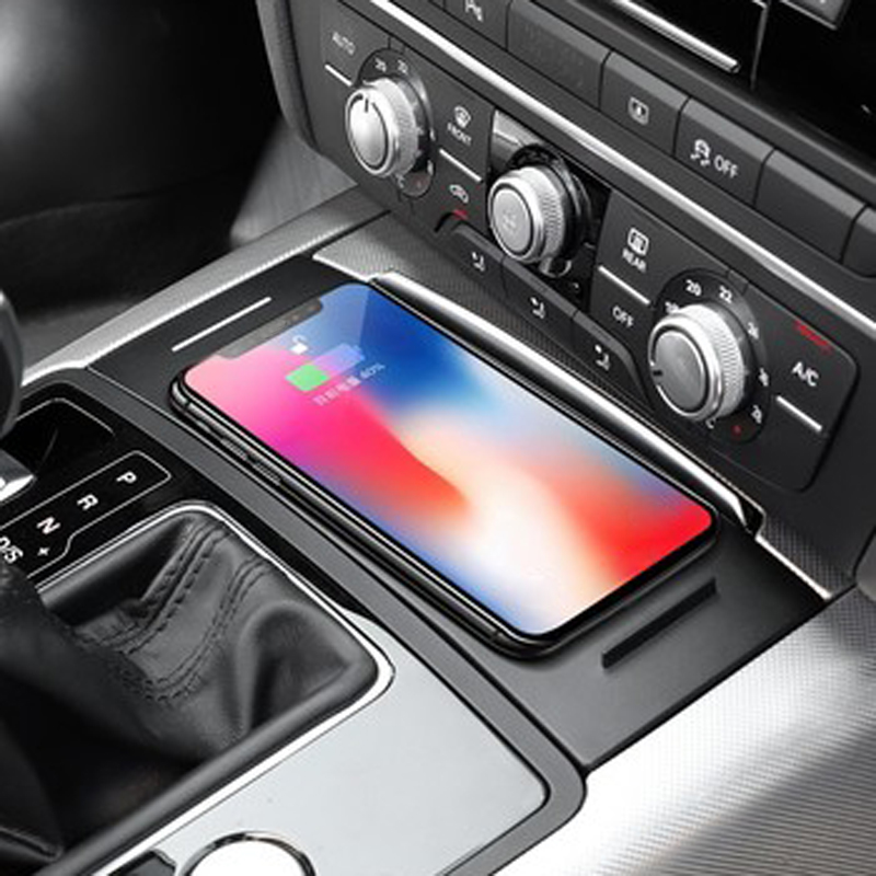 For <font><b>Audi</b></font> <font><b>A6</b></font> C7 A7 2012-2018 car QI wireless charging phone charger phone holder charging panel plate accessories for iPhone 8 X image