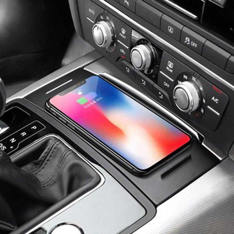 Pour Audi A6 C7 A7 2012-2018 voiture QI sans fil chargeur de téléphone support pour téléphone panneau de charge plaque accessoires pour iPhone 8 X