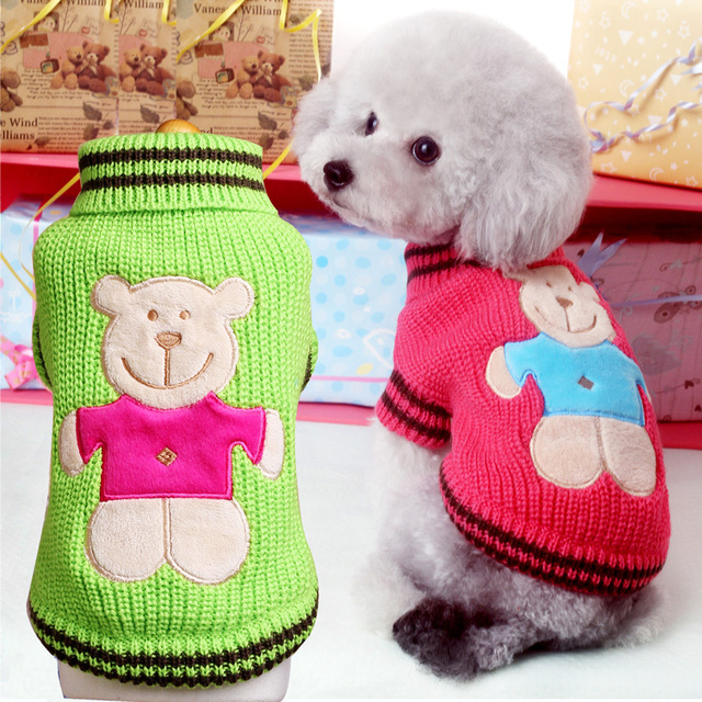 New Small Dog Clothes Cute Bear Pattern Pet Knitting Shirt Cat
