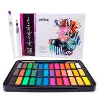 Новые 36 цветов однотонные акварельные краски в наборе с водяная кисть профессиональный водный цветной пигмент для искусства раскрашивания...