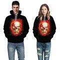Hip Hop 3d galaxy digital Skull Fire hoodies Sweatshirt For Women Men Couples Streetwear Casual Black Hooded clothing