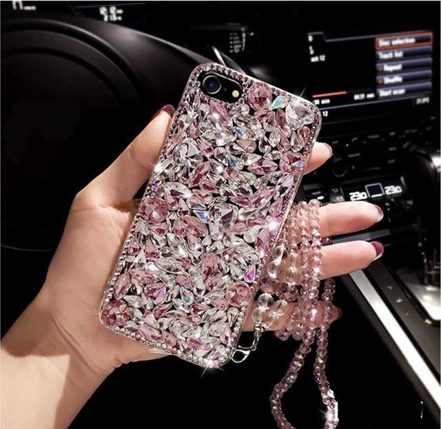 Pour Xiaomi 10 9 MAX3 Redmi 5A 6 8A Note 6 7 8 Pro 8T luxe mignon diamant paillettes strass housse cristal longue chaîne sangle