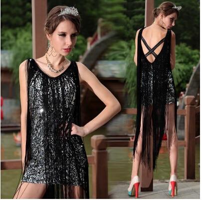 Wind fashion Sexy Nightclub V-neck black dress fringed photo studio Slim sequined dress ...