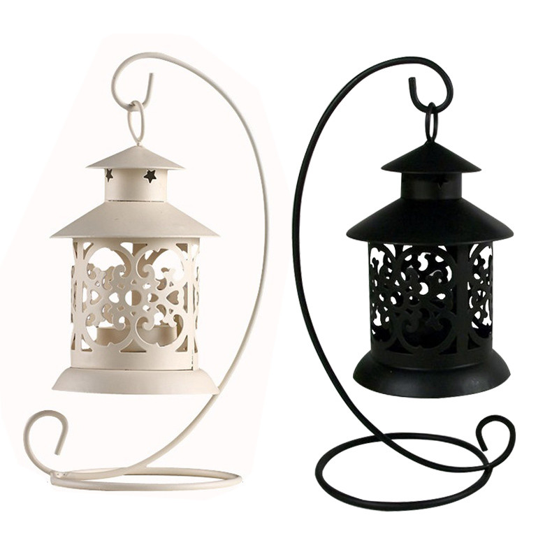European Style Iron Hollow Candlestick Candle Holder Stand Light Lantern Decor Wedding Home Table Decoration Black White free shipping european high grade furniture jewelry natural resin candlestick rose upholstery candlestick wedding accessories